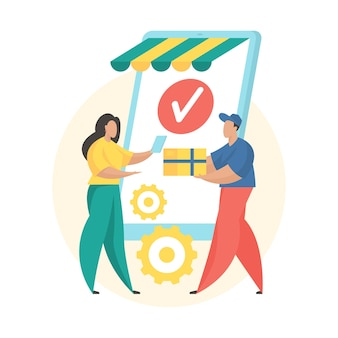 Order received. flat vector illustration. mobile shopping order status icon. female cartoon character customer receiving order and paying courier with card.