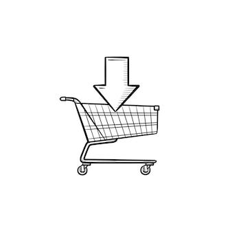 Заказ, магазин онлайн-тележки со стрелкой рисованной наброски каракули значок. электронная коммерция, покупка, рынок, бизнес-концепция. векторная иллюстрация эскиз для печати, интернета, мобильных устройств и инфографики на белом фоне.