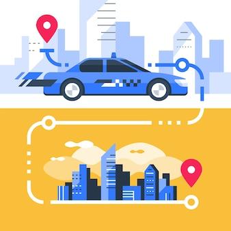 Заказать такси, быстрое обслуживание, автоперевозки, прокат автомобилей, трансфер по городу, указатель карты и центр города, современный городской пейзаж, иллюстрация