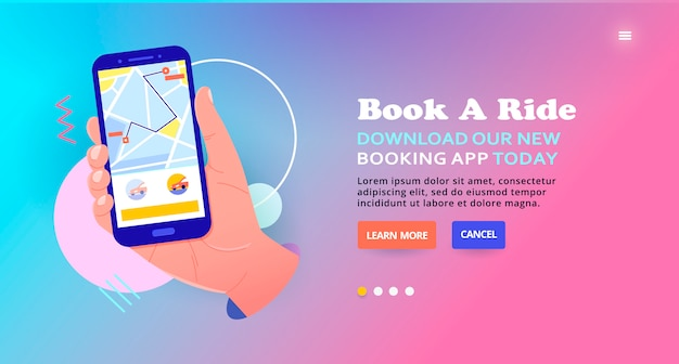 Order a taxi in a mobile application online, banner design. book a ride, web banner. online car service  illustration concept, mobile taxi booking service, car tracking.
