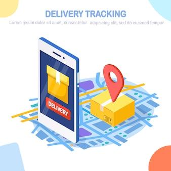 Отслеживание заказа. изометрическая 3d телефон с приложением службы доставки. доставка ящика, грузоперевозки