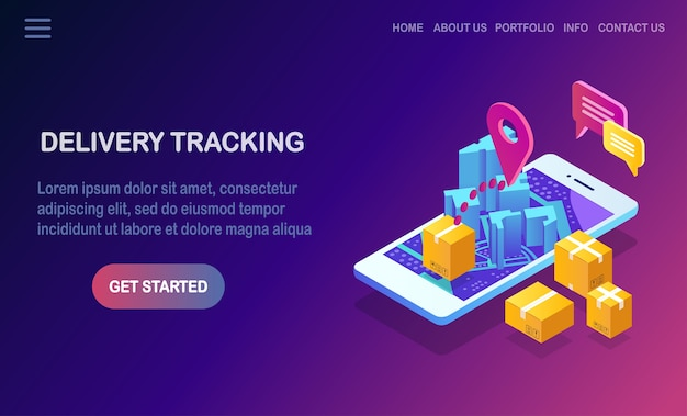 Order tracking. isometric phone with delivery service app. shipping of box, cargo transportation.