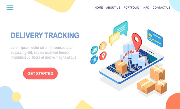 Order tracking. mobile phone with delivery service app. shipping of package, cargo transportation
