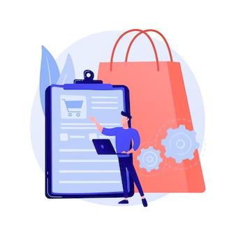 주문 추적 프로그램, 편리한 서비스. 쇼핑 목록, 바구니 내용, 구매 패키지. 모바일 소프트웨어, 스마트 폰 애플리케이션.