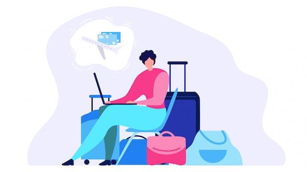 Ordering airline ticket online flat vector concept