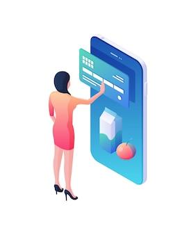 モバイルアプリケーションのアイソメ図での製品の注文と支払い。女性キャラクターがオンラインストアで食べ物の購入をチェックし、ウェブブルーのクレジットカードに支払います。インターネットマーケティングの概念。