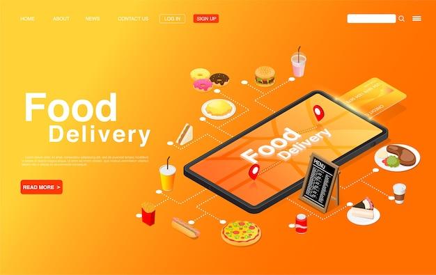 スマートフォンの画面で食品をオンラインで注文する