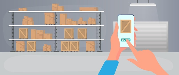 Ordering a package via phone. online ordering goods from stock. large warehouse with drawers. rack with drawers and boxes. carton boxes. vector.