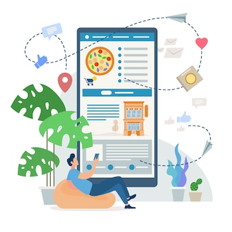 Ordering pizza, fast food home delivery service, mobile phone application