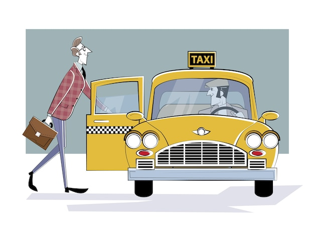 Ordering taxi car. man gets into a retro taxi car. businessman rushing to meeting.