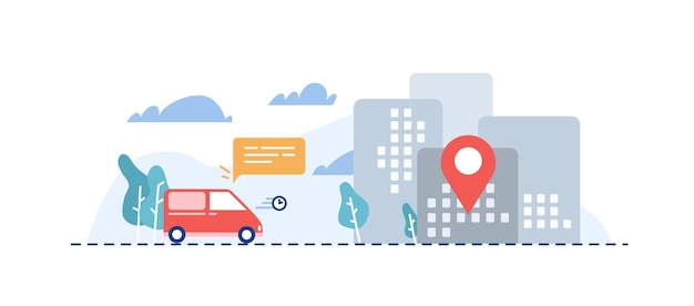 Orders delivery flat vector illustration. cartoon car carrying parcels to destination point. delivery service, post office vehicle. door to door products shipment. express orders transportation.