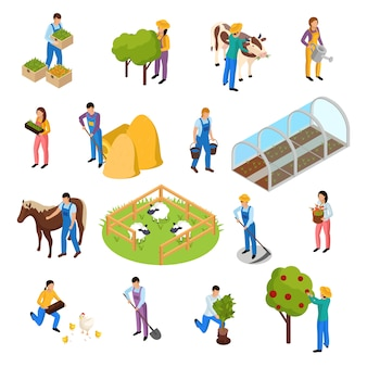 Ordinary farmers life isometric collection with elements of farming facilities plants and farm workers