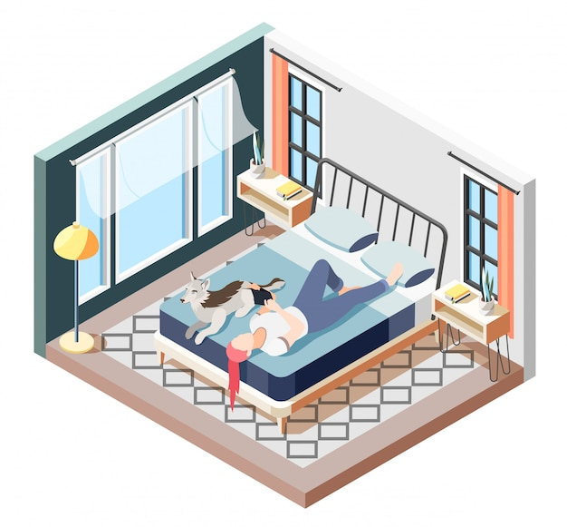 Ordinary life of man and his dog isometric composition recreation time of girl with dog  illustration