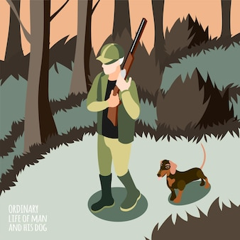 彼の犬のベクトル図で狩りをしている人と彼の犬の等尺性の人の日常生活 無料ベクター