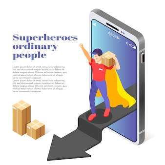 スーパーヒーローとしての一般の人々は、スマートフォンをステップアウトするパッケージを配達する宅配便の男性と等角図