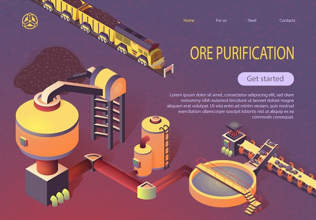 Ore purification at metallurgy foundry banner