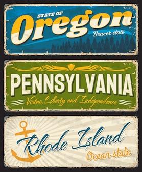 Орегон, пенсильвания и род-айленд состаренные пластины с символами штатов