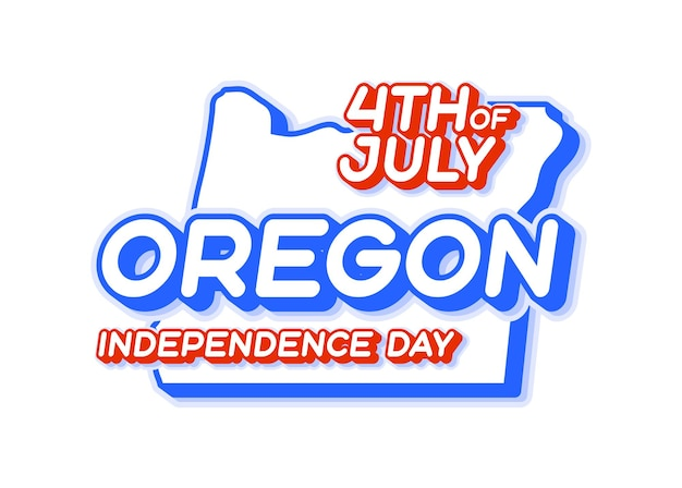 Oregon state 4th of july independence day with map and usa national color 3d shape of us