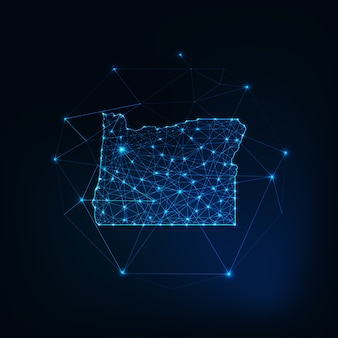 Oregon usa map glowing silhouette outline made of stars lines dots triangles, low polygonal shapes. communication, internet technologies concept. wireframe futuristic