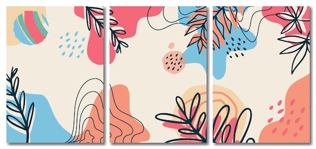 葉のコレクション、メンフィススタイルの背景を持つ有機抽象ミニマリストパステル背景
