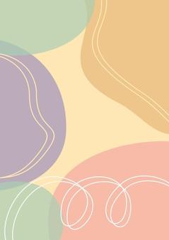 有機抽象的なパステルの形の背景、メンフィススタイルの背景、ミニマリストの美学
