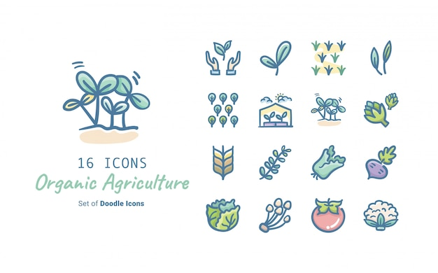 Organic agriculture doodle icon collection