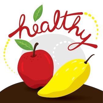 Organic apple and mango fruit