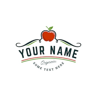 Organic apple farm logo template