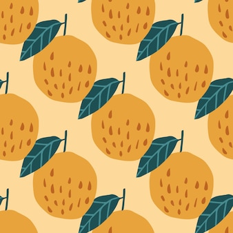 Organic apples and leaves seamless pattern
