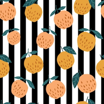 Organic apples seamless pattern on stripes background. cute apple in hand drawn style. design for fabric, textile print, wrapping paper, children textile. vector illustration