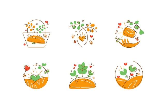 유기농 베이커리 및 패스트리 제품 로고 세트