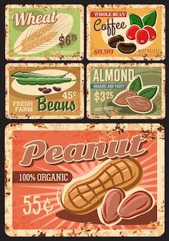 Органические бобы, орехи и злаки фермы ржавые металлические пластины.
