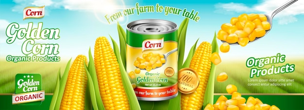 おいしいトウモロコシと有機缶詰のトウモロコシのバナー