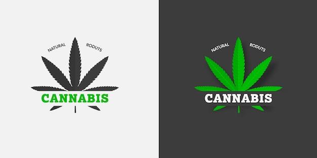 흰색과 검은색 배경에 유기 cbd 및 thc 그래픽 레이블 템플릿, 잔디의 녹색 잎에 비문이 있습니다. sativa 및 indica 의료용 마리화나 로고 디자인. 벡터 대마초 상징