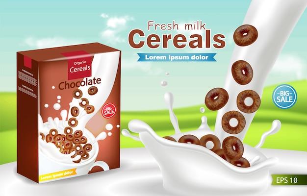 Organic cereals in milk splash realistic mockup