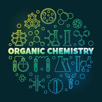 Organic chemistry colored outline round icon illustration