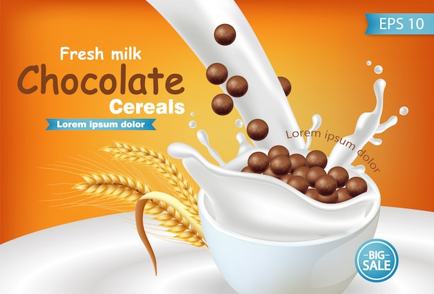 Organic chocolate cereals in milk splash realistic mockup