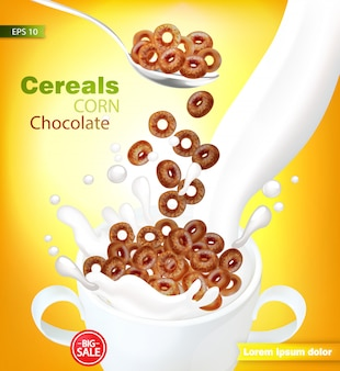 Organic chocolate cereals with milk splash mockup