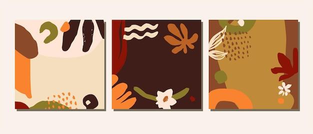 有機コラージュ手描きの素朴なテラコッタは、抽象的な植物のカバー、カード、芸術的なソーシャルメディアテンプレートを着色します。創造的な普遍的な天然ハーブの健康的な背景。 eps10ベクトル図
