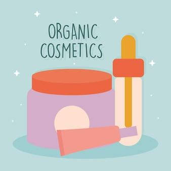 有機化粧品アイコンのバンドルと有機化粧品レタリング