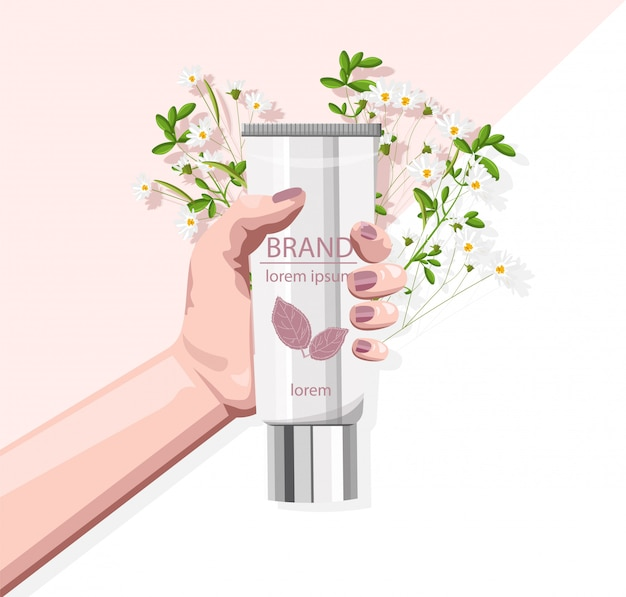 Organic cosmetic product held by female hand