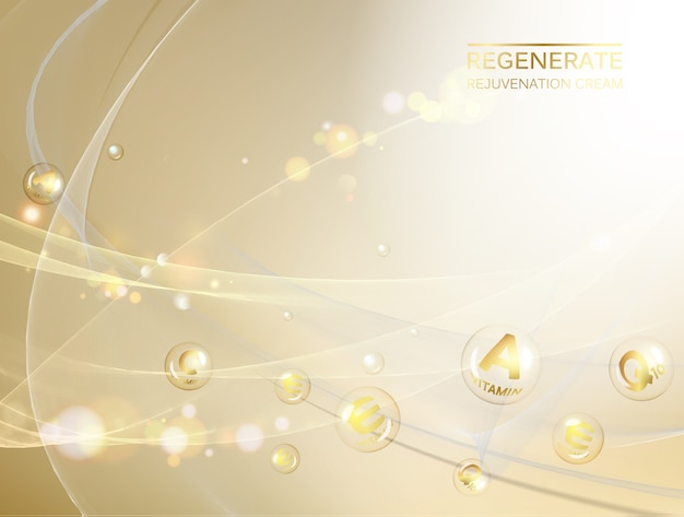 Organic cosmetic and skin care design over golden .