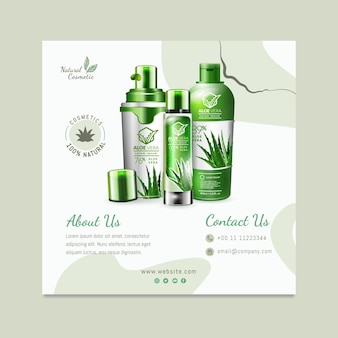 Organic cosmetic squared flyer template