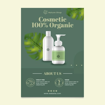 Organic cosmetic vertical flyer template