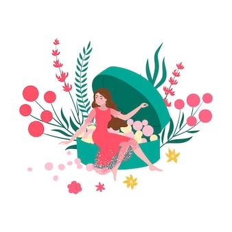 유기농 화장품 여자와 파우더, 자연의 아름다움 피부, 아름다운 자연 메이크업, 그림, 흰색. 매력적인 여성의 패션, 얼굴 관리, 전문 미용.