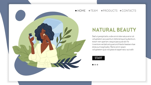 Organic cosmetics and beauty products for women. skincare and treatment for ladies. girl in robe applying cream looking at mirrors. website or web page landing template, vector in flat style