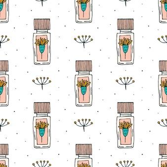 Organic cosmetics doodle hand drawn line art seamless pattern