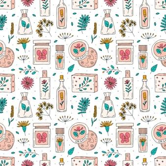 Organic cosmetics doodle hand drawn seamless pattern
