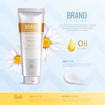 Organic cosmetics ingredients advertising realistic composition with new collection natural ingredients descriptions vector illustration