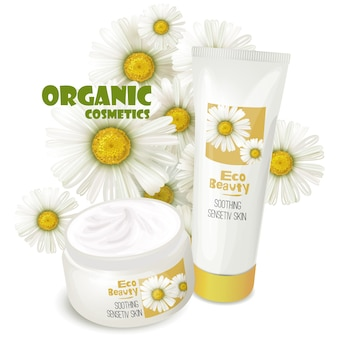 Organic cosmetics product with chamomile vector